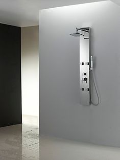 It features a rectangle shape. This shower panel is designed to be installed as a wall mount shower panel. It is constructed with stainless steel. This modern shower panel product is CUPC certified.
