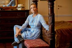 """The blue lace Burberry dress that Villanelle """"borrowed"""" in Tuscany in season one, and paired with more practical Doc Martens. Doc Martins Boots, Black Gucci Belt, The Vampires Wife, Khaki Coat, Burberry Dress, Jodie Comer, Female Fighter, Fashion Tv, French Fashion"""