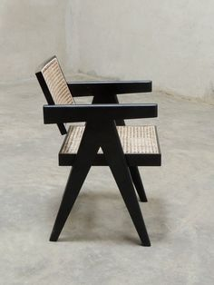 A handcrafted Office Cane Chair made with Burma teak and stained black, made as per Pierre Jeanneret's Office Chair design for the city of Woodworking Shop Layout, Woodworking Bench Plans, Japanese Woodworking, Unique Woodworking, Woodworking Projects That Sell, Woodworking Toys, Woodworking Patterns, Woodworking Furniture, Green Woodworking