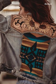 Embellished denim jacket with tooled leather Cute Cowgirl Outfits, Western Outfits Women, Country Style Outfits, Country Wear, Cute Fall Outfits, Cool Outfits, Fashion Outfits, Western Wear, Western Style