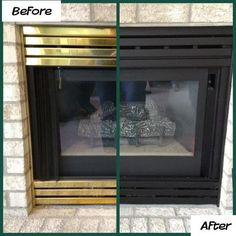 Fascinating Cool Tips: Fireplace Design Wooden small corner fireplace.Tall Fireplace French Doors old fireplace stones.Old Fireplace Stones. Fireplace Update, Paint Fireplace, Old Fireplace, Farmhouse Fireplace, Fireplace Remodel, Fireplace Surrounds, Fireplace Design, Brass Fireplace Makeover, Brick Fireplaces