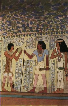 Wall painting from the tomb of Sennefer, Mayor of Thebes during the reign of Amenhotep II (ca.1426-1400 BC),showing Sennefer and his sister Meryt in front of a priest.