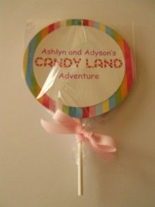 Candy Land invitation - swivels up to reveal the details of the party; wrapped in cellophane and tied with a bow