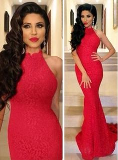 2014 Sexy Red Mermaid Prom Dress High-neck Sleeveless Lace Womens Evening Party Gowns