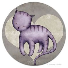 Send this cute purple sleeping cat round postcard