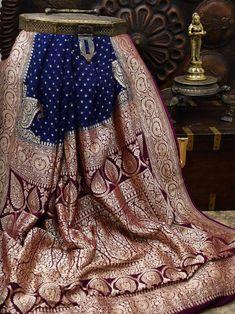 Sacred Weaves - Shop for Exquisite Banarasi Sarees Online Banarsi Saree, Silk Saree Kanchipuram, Handloom Saree, Georgette Sarees, Silk Sarees, Navy Blue Color, Color Stripes, Black Stripes, Weave Shop