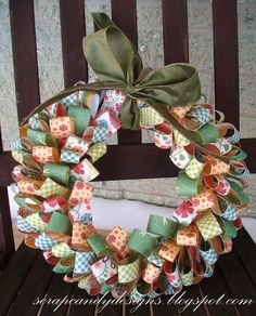 Two Girls Being Crafty: Scrap Candy Designs makes a Patterned Paper Wreath