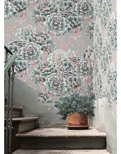 Bethany Linz - Art & Design, Succulent allover design for wallpaper, from the Cacti wallpaper collection.