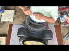 Tutorial parte (1) como fazer um belo vaso ornamental com um pneu velho! - YouTube