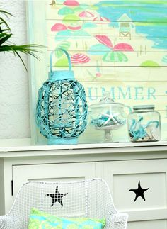 Summer Mantel in a Beach Cottage, Could put on shelve your running around mid-wall. Love the color and the design of the lattner, jars just top it off perfect. Beach Cottage Style, Cottage Style Homes, Beach Cottage Decor, Coastal Cottage, Coastal Style, Cottage Chic, Coastal Decor, Coastal Living, Tropical Decor