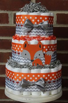 3 Tier Fox Diaper Cake Boys Woodland Baby by BabeeCakesBoutique Regalo Baby Shower, Deco Baby Shower, Bebe Shower, Baby Shower Diapers, Baby Shower Games, Baby Boy Shower, Baby Shower Parties, Diaper Cake Boy, Nappy Cakes