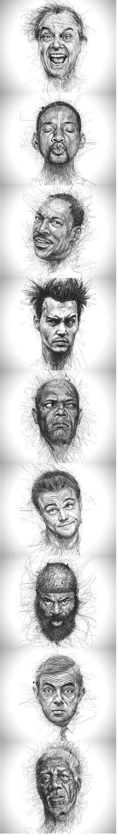 Retratos de estrellas, trazo de lápiz.