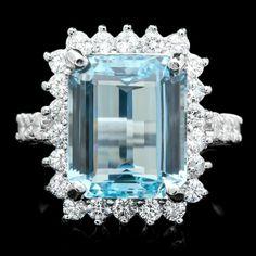 14k Gold 6.00ct Aquamarine 1.00ct Diamond Ring : Lot 163C