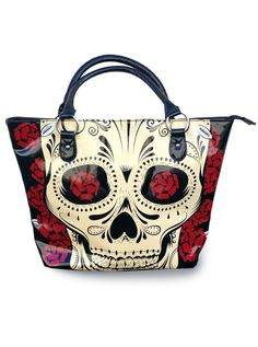 """Day Of The Dead"" Tote Bag by Jawbreaker (Black) #InkedShop #tote #bag #skull"