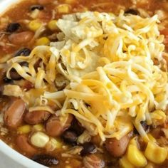 Dinner does not get any easier than this 7 can chicken taco soup! Dump 7 cans into a pot plus some seasonings and that's it! Serve with tortilla chips, cheese, and sour cream. You won't believe how yummy & easy it is. Can Soup Recipe, Easy Soup Recipes, Easy Dinner Recipes, Chicken Recipes, Cooking Recipes, Healthy Recipes, Dinner Ideas, Dinner Suggestions, Dump Recipes