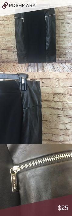 "Michael Kors Black Faux Leather Pencil Skirt Uber Cute Michael Kors Faux Leather Black Pencil Skirt w/front and back zippers. Size 8. Measurements: Waist 14.5"" and Length 23"" and back split 7"" Michael Kors Skirts Pencil"