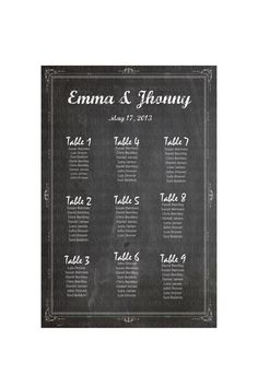 Chalkboard Wedding Seating Chart - By table No. - Customizable for Your Reception- Printale via Etsy