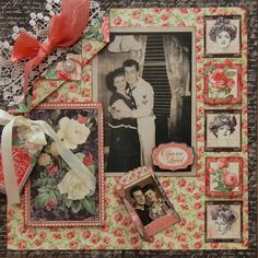 My parents a long time ago! This scrapbook page was created with Graphic 45 Mon Amour .