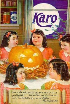 """Karo syrup """"40 VINTAGE ADVERTISEMENTS FOR HALLOWEEN"""" I love the illustration and the graphic of retro advertisement, always make me smile! So i selected for you 40 vintage ads for Halloween. Hope you will enjoy! Happy Vintage Halloween!!"""