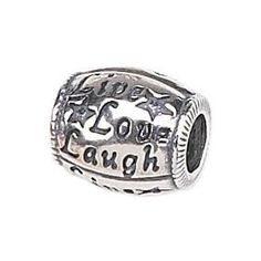 Zable(tm) Sterling Silver Live/Love/Laugh Bead / Charm, (pandora charms, pandora, charm, finejewelers, live love laugh)