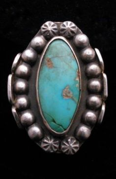 Antique-Navajo-Silver-and-Turquoise-Ring-STERLING-Old-Pawn-Size-10-ST114
