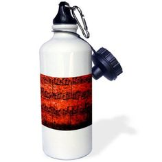 3dRose Musical Interlude in Red, Sports Water Bottle, 21oz, White