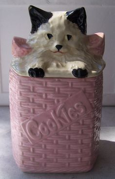 Vintage McCoy cookie jar.   I have this jar and love it.  Looks like my Sidney sitting in a basket.