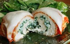 3 cheese and spinach chicken rollatini