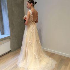 Light Creamy Champagne Deep V Lace Wedding Dress by WeekendWeddingDress on Etsy https://www.etsy.com/listing/469107474/light-creamy-champagne-deep-v-lace