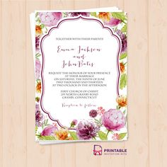 Free PDF Download. Watercolor Wedding Flowers Invitation Template - easy to edit and print at home.