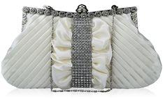 Ivory Wedding Diamante Ruched Satin Evening Clutch Bag with Crystal Trim Bridal