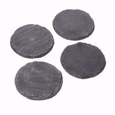 10cm   Set of Four Round Slate Coasters