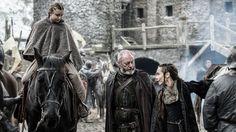 Kerry Ingram as Princess Shireen Baratheon, Liam Cunningham as Ser Davos Seaworth and Tara Fitzgerald as Selyse Baratheon (season 5, episode 5: Kill the Boy)
