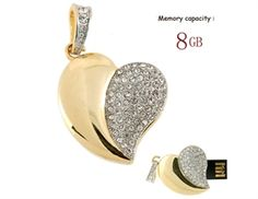 Pen Drive Coração de Asas 8GB - Dourado Asas, Pen Drive Usb, Formas De a5cd3195c6