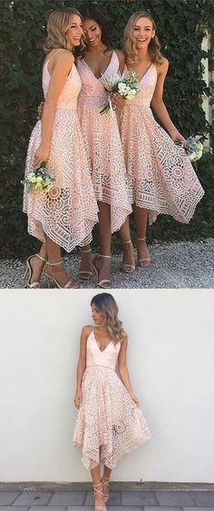 A-Line Spaghetti Straps Asymmetrical Pink Lace Bridesmaid Dress bridesmaid dresses, pink lace short party dresses, cheap bridesmaid dresses vestidos Bridesmaid Dresses 2017, Red Bridesmaids, Homecoming Dresses, Prom Gowns, Wedding Party Dresses, Wedding Attire, Prom Party, Lace Wedding, Wedding Flowers
