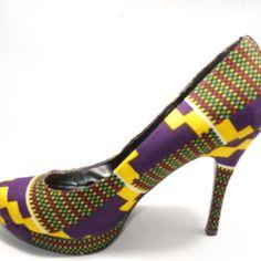Escarpins urban chic baoulé Escarpins à talons hauts style ethnique  tendance tribale en tissu africain wax