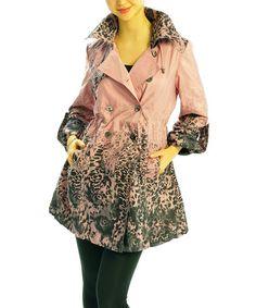 It's a bit different but I kinda like it!! Pink & Black Animal Trench Coat by Zac Studio #zulily #zulilyfinds