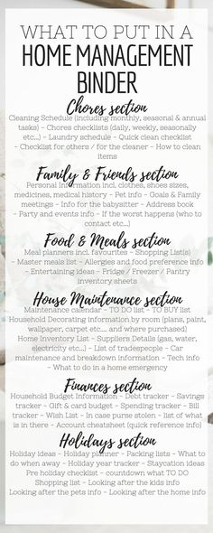 Home management Binder Contents List - What to put in a Home Management Binder - Categories - Sections and everything you can think of all in one simple list #homemanagementbinder