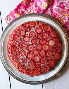 Strawberry Almond Upside Down Cake. Perfect for Mother's Day Brunch