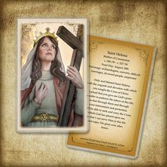 Helen of Constantinople, Mother of Constantine the Great Holy Card / Prayer Card, Catholic Art Catholic Art, Catholic Saints, Heart Wedding Cakes, Constantine The Great, Van Cleef And Arpels Jewelry, Inspirational Prayers, Prayers For Healing, Prayer Book, First Holy Communion