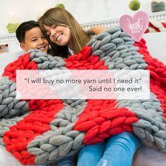 DIY Arm Knitted Cosy Chunky Blanket step-by-step guide - Wool Couture Grey Throw Blanket, Chunky Blanket, Giant Knitting, Arm Knitting, Knitted Blankets, Merino Wool Blanket, Wool Yarn, Cast Off, Honda
