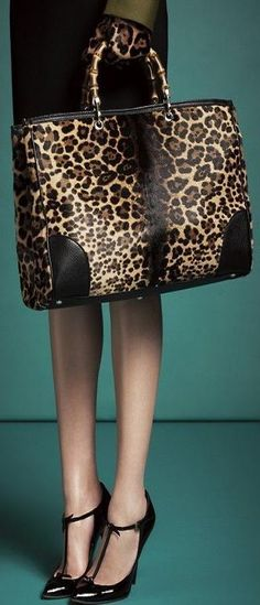 Gucci Bamboo Shopper Jaguar Print tote is a Soft leopard print calf hair with pale goldtone hardware fur origin: new zealand. Fashion Mode, Fashion Bags, Fashion Accessories, Womens Fashion, Fashion Trends, Fashion Styles, Fashion Clothes, Fashion Ideas, How To Have Style