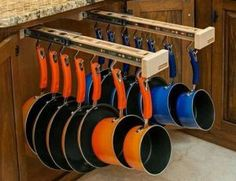 cool idea for storing pots and pans - 50 Best Small Kitchen Storage Ideas For Awesome Kitchen Organization 30 – GooDSGN Kitchen Ikea, Smart Kitchen, New Kitchen, Kitchen Decor, Awesome Kitchen, Organized Kitchen, Kitchen Pans, Kitchen Gadgets, Wooden Kitchen