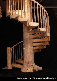 30 Unique Outdoor Wooden Stairs Ideas That Will Enhance Your Garden Beauty / -Amazing 30 Unique Outdoor Wooden Stairs Ideas That Will Enhance Your Garden Beauty / - Rustic Pine Spiral Staircase Custom Made to order Cabin Homes, Log Homes, Tiny Homes, Stair Gallery, Take The Stairs, Wooden Stairs, Painted Stairs, Staircase Design, Staircase Ideas