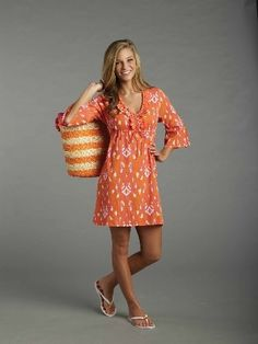 Tangerine Ikat Cover-up - Blouses & Coverups - Seasons Gifts and Home