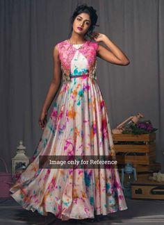 Multicolor Digital Printed Satin Coldshoulder Gown With Jacket Lehenga Designs, Kurta Designs, Kurti Designs Party Wear, Blouse Designs, Robe Anarkali, Saree Gown, Long Dress Design, Dress Neck Designs, Long Gown Dress