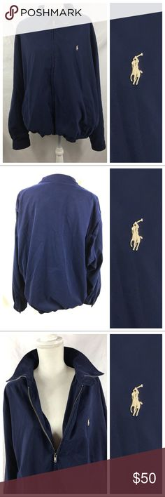 """Polo Ralph Lauren Blue Classic Jacket Size XXL EUC Polo Ralph Lauren Polyester Navy Blue Classic Jacket Pony Logo Men's Size XXLarge EUC  This item up for sale is a Men's Polo by Ralph Lauren 100% vintage style polyester jacket size XXL. This is a gently pre owned item in excellent condition with no rips or stains. This is an amazing, high quality jacket that would would expect from Ralph Lauren.  Approximate measurements: Mens XXL Shoulder to shoulder: 22 1/2"""" Under arm to under arm:25""""…"""