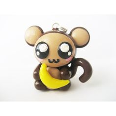 Cute Monkey with Banana Polymer Charm (€8,74) ❤ liked on Polyvore featuring jewelry, pendants, clay jewelry, charm pendant, charm jewelry, monkey jewelry and clay charms