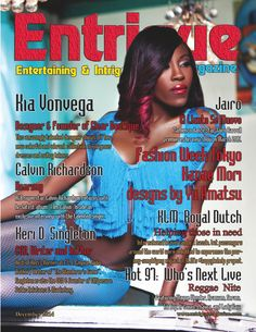 Designer Kia Vonvega on the December 2014 double cover issue of Entrigue Magazine.