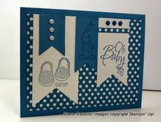 handmade card fromScore at Four and a Quarter: Baby, We've Grown ... super cute stamps ... navy and white ... luv the polka dot background and line image only stamping ... great card!! ... Stampin' Up!